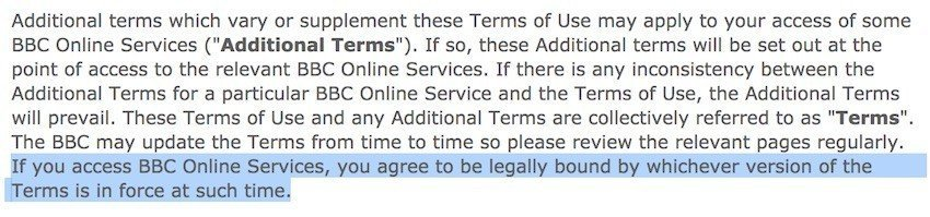 Legally bound clause in BBC Terms of Use