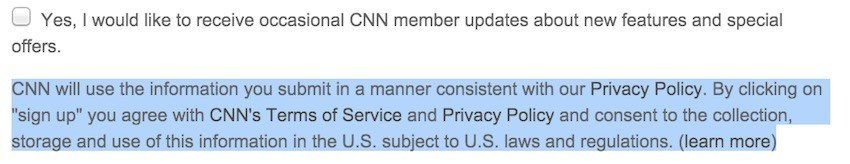 CNN Register: You agree to Terms of Service, Privacy Policy