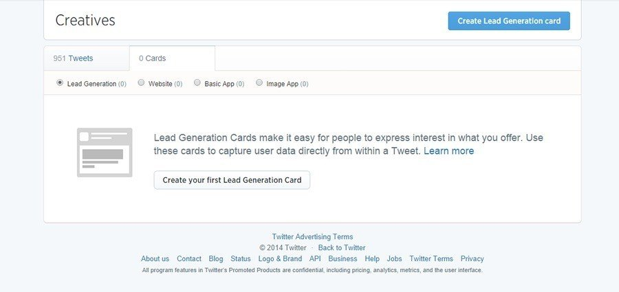 Step 2 to create Twitter Generation Card