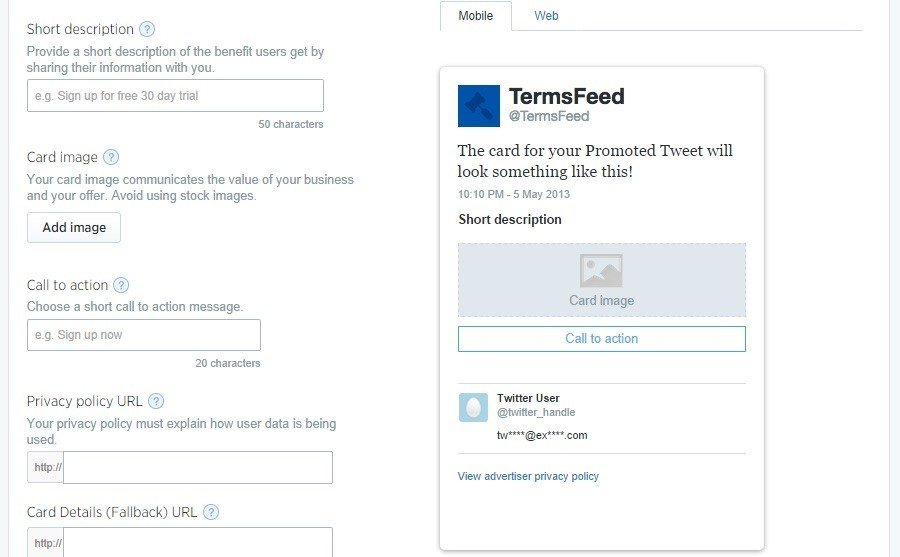 Step 3 to create Twitter Generation Card
