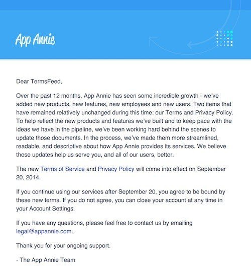 AppAnnie email to users: Terms of Service, Privacy Policy updated