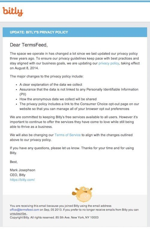 Bitly email: Privacy Policy is updated