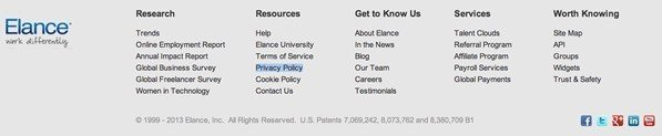 Elance footer: Highlight link to Privacy Policy