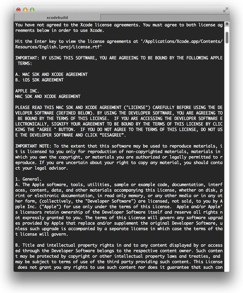 Xcode - Software License Agreement in Terminal