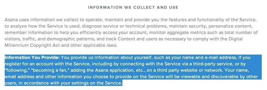 Asana Privacy Policy - Information We Collect
