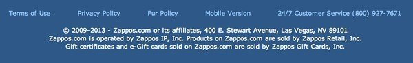 Zappos footer: Links to Terms of Use, Privacy Policy