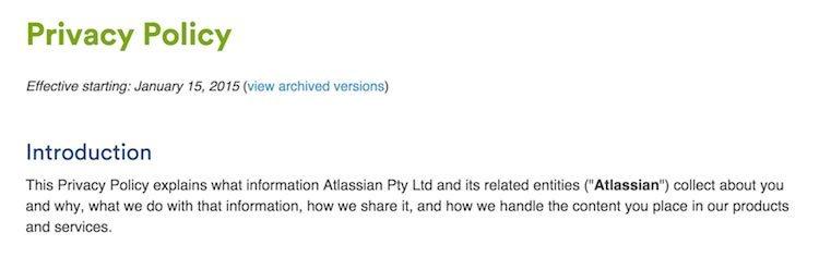 Atlassian Privacy Policy