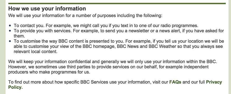 BBC: How We Use Your Information