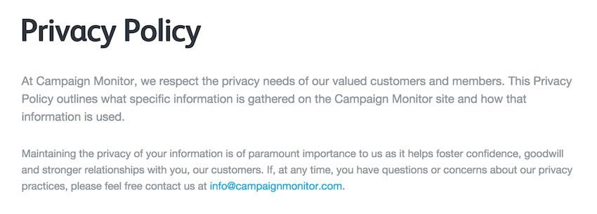 Screenshot of Campaign Monitor Privacy Policy