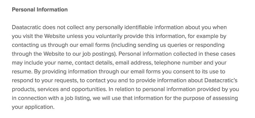 Datacratic excerpt on Personal Info in Privacy Policy