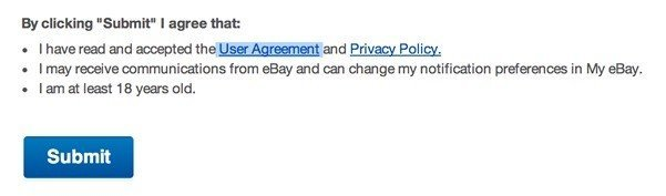 eBay Sign-up: Highlight User Agreement & Privacy Policy
