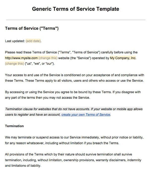 Sample terms of service template termsfeed example of terms of service screenshot friedricerecipe Choice Image