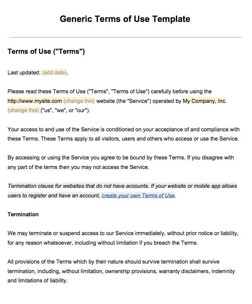 Sample terms of use template termsfeed for Generic terms and conditions template