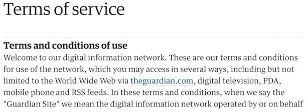 The Guardian Terms Page