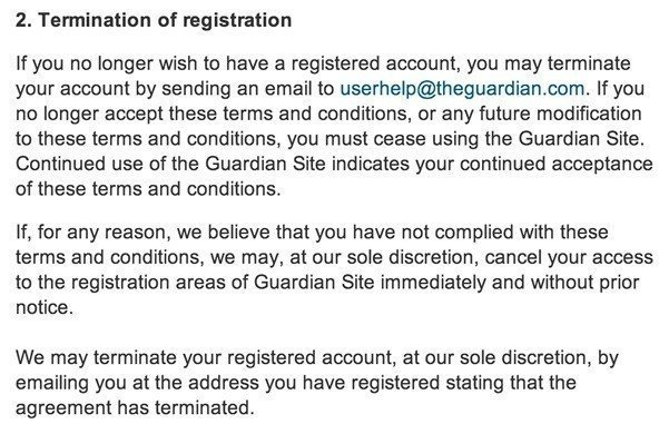 Termination Clause In Terms Of Service Guardian