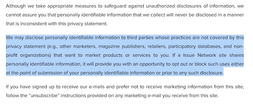 Issue - Privacy Policy on Third-Parties Sharing