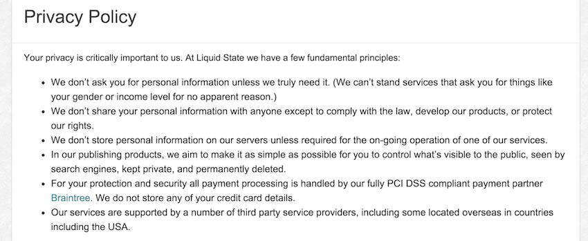Liquid State Screenshot of Privacy Policy