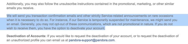 Pandora Opt-out Info in Privacy Policy