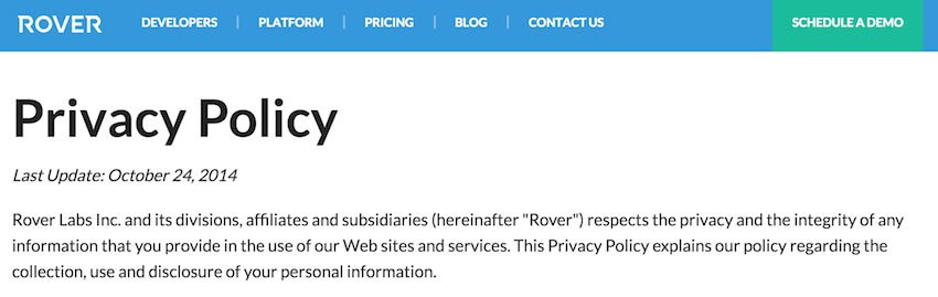 Screenshot of Rover Privacy Policy