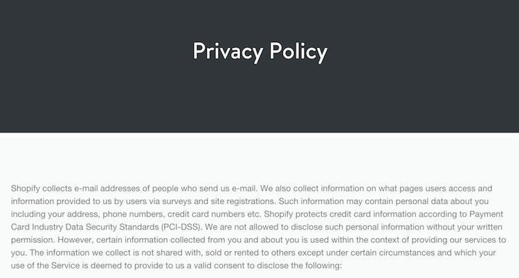 Screenshot of Shopify Privacy Policy