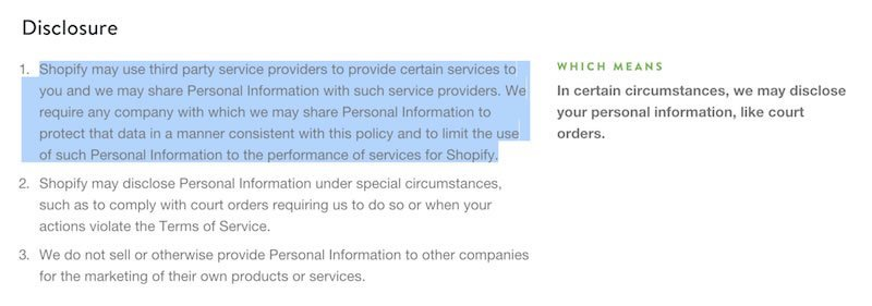 Shopify Third-Party Privacy Policy