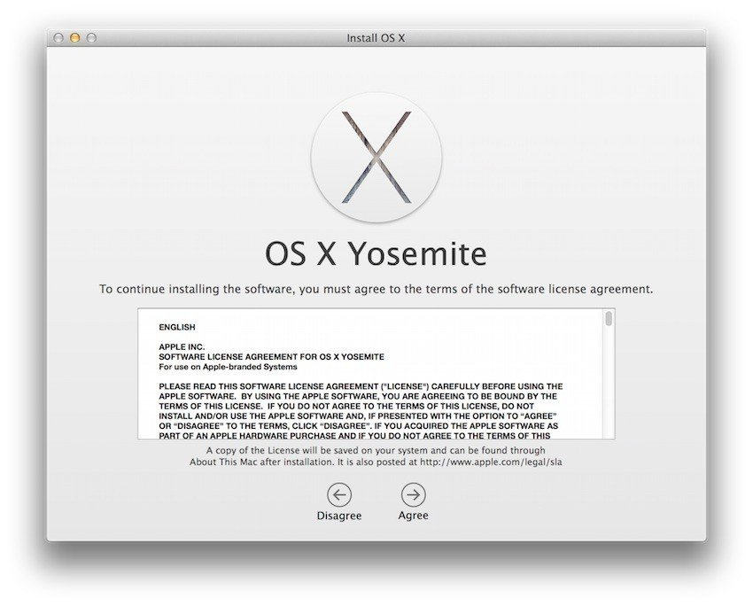 Example of Apple EULA when installing Yosemite - 1