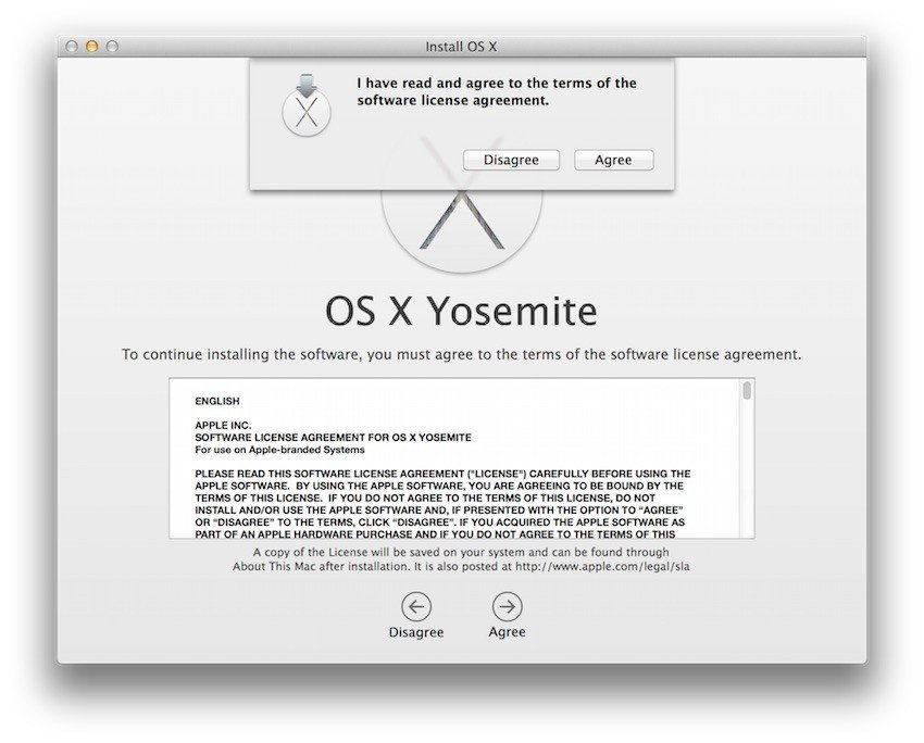 Example of Apple EULA when installing Yosemite - 2