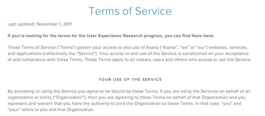 Asana Terms of Service Section