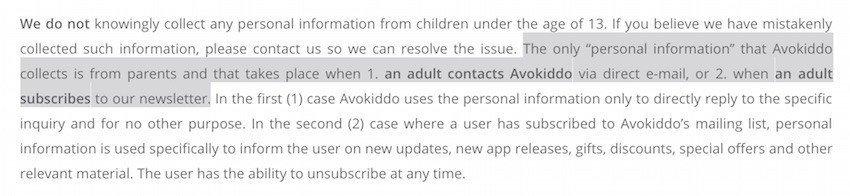 Screenshot from Avokiddo Privacy Policy