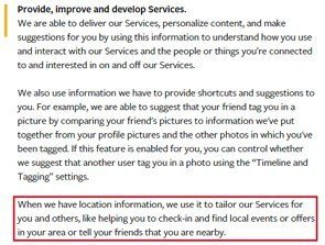 Facebook Location Data In Privacy Policy