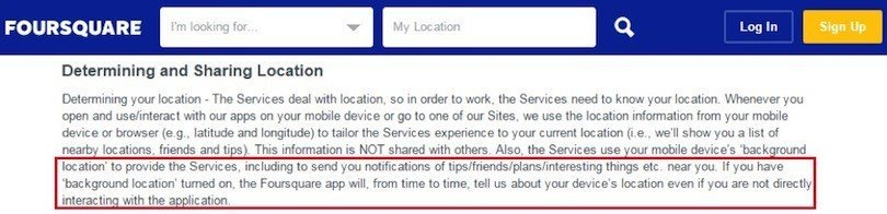 Foursquare Location Data in Privacy Policy