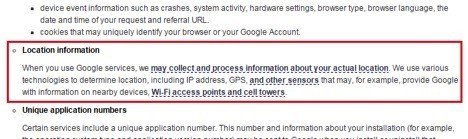 Google Location Data in Privacy Policy