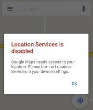 Google Maps Informs About Current Location