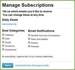 Unsubscribe mechanism by Groupon