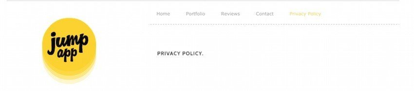 Jump App Link to Privacy Policy Position