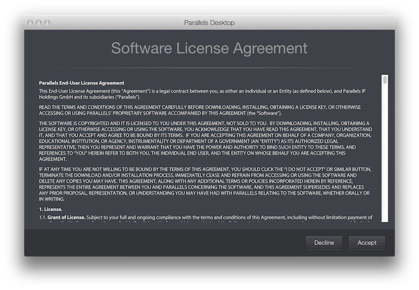 Parallels Software License Agreement