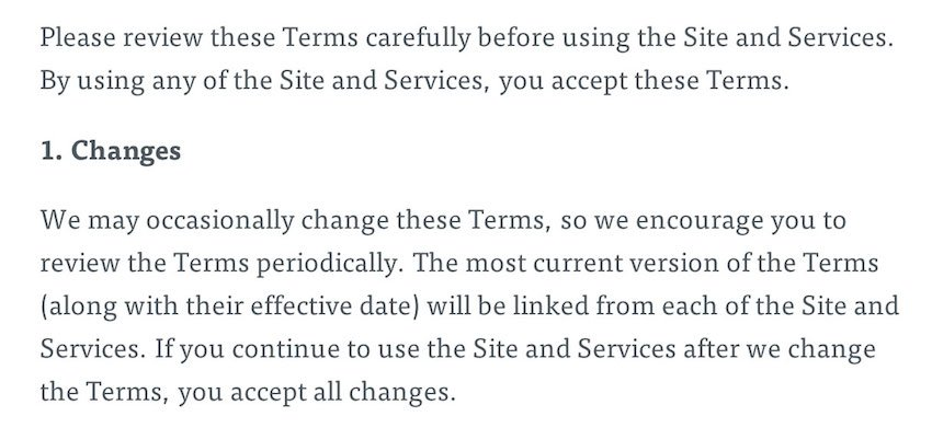 The Next Web Terms of Service Section