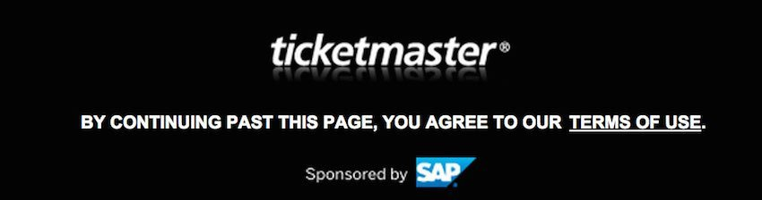 Ticketmaster Terms of Use in Footer