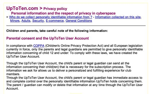 UpToTen Privacy Policy