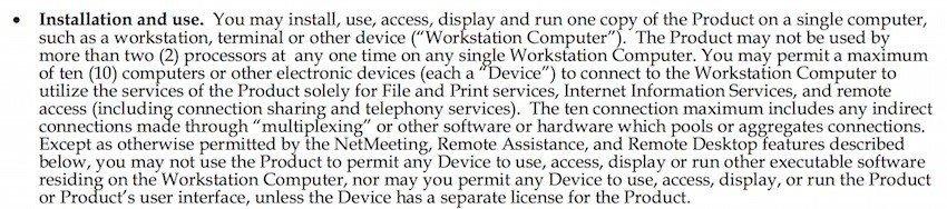Windows XP EULA Installation Clause