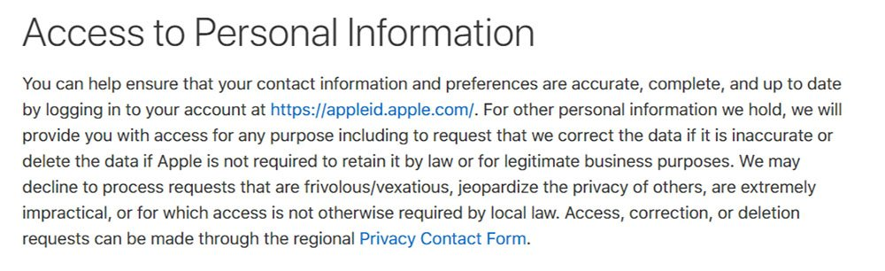 Apple's Privacy Policy: Access to Personal Information clause