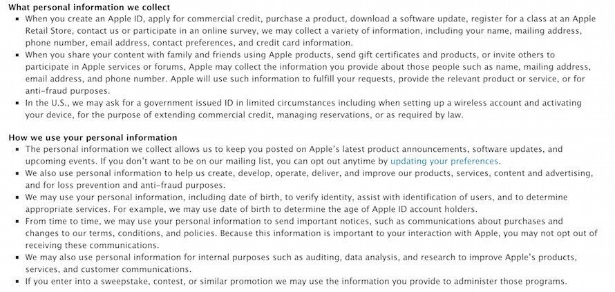 Screenshot of Apple Privacy Policy on Personal Data