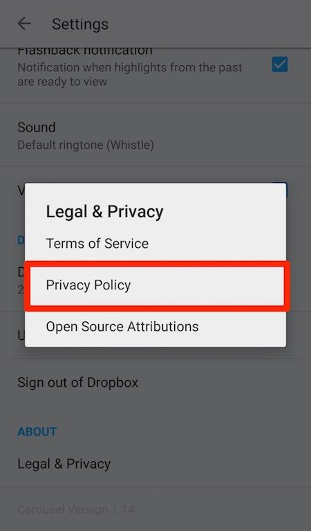 Dialog Window of Legal & Privacy from Dropbox Carousel
