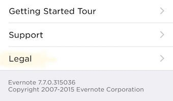Evernote iOS App: Click on Legal