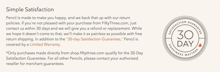 fiftythree 30 days return policy