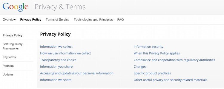 Google Privacy Policy And Terms Screenshot