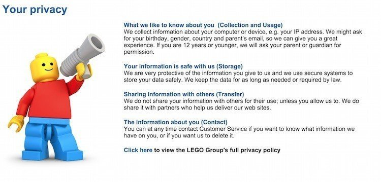 Screeshot of LEGO Summarized Privacy Policy