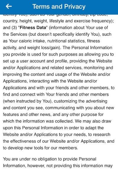 MyFitnessPal Terms and Privacy