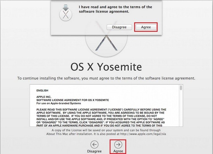 Agree to OS X Yosemite Software License Agreement