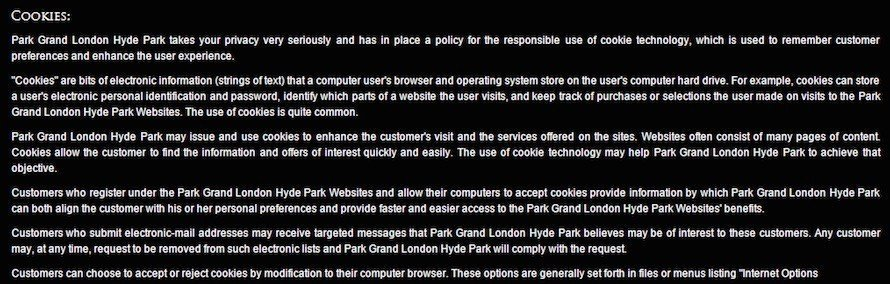 Park Grand Cookies Clause in Privacy Policy